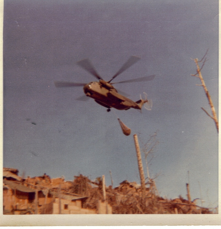 Go to A CH-53 Sea Stallion resupplying LZ Neville in Spring 1969 item page