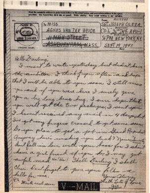 Go to Letter from Joe Olexa to Agnes Van Der Weide, September 19, 1943 item page