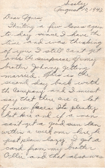 Go to Letter from Joe Olexa to Agnes Van Der Weide, August 10, 1943 item page