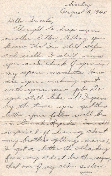 Go to Letter from Joe Olexa to Agnes Van Der Weide, August 12, 1943 item page