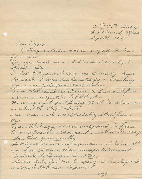 Go to Letter from Joe Olexa to Agnes Van Der Weide, September 25, 1941 item page