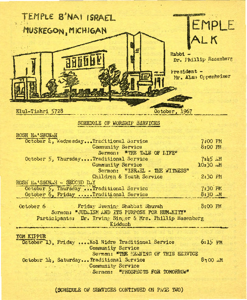Go to Temple B'nai Israel Bulletin, October 4, 1967 item page