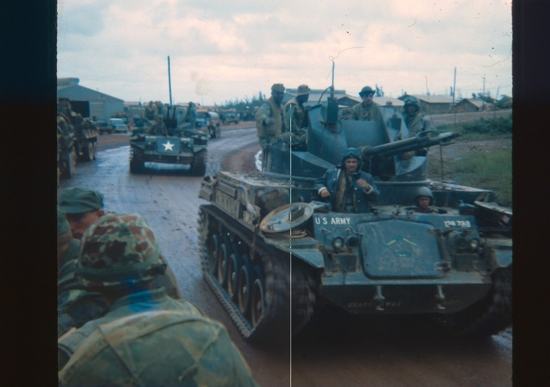 Go to Two U.S. Army dusters, 40mm tracked AA vehicles, south of Hue on Route 1 item page