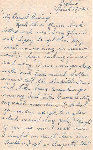 Go to Letter from Joe Olexa to Agnes Van Der Weide, March 25, 1945 item page