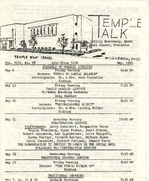 Go to Temple B'nai Israel Bulletin, May 6, 1966 item page