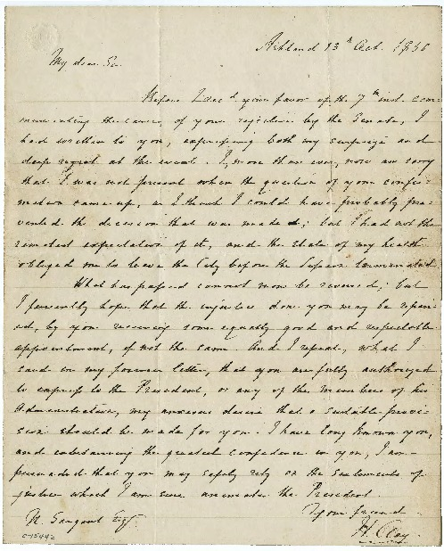 Go to Nathan Sargent from Henry Clay, October 13, 1850 item page