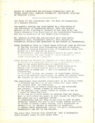 Go to Council of Michigan Foundations 1968 annual conference report item page