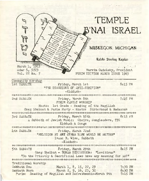 Go to Temple B'nai Israel Bulletin, March 1, 1963 item page