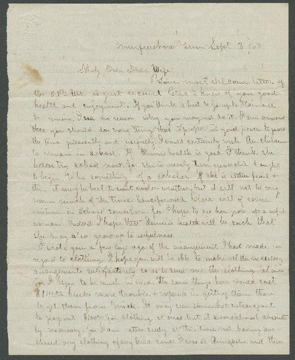Go to John Bennitt to his wife [Letter 092] item page