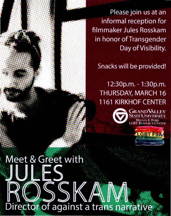 Go to Meet & Greet Jules Rosskam, Director of against a trans narrative item page