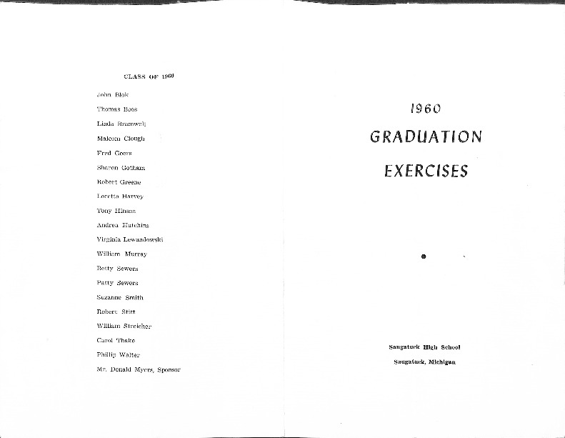 Go to Saugatuck High School 1960 Commencement program item page