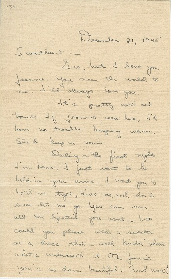 """Go to Letter to Jean Worthington by Edward """"Ned"""" Manley, December 21, 1945. item page"""