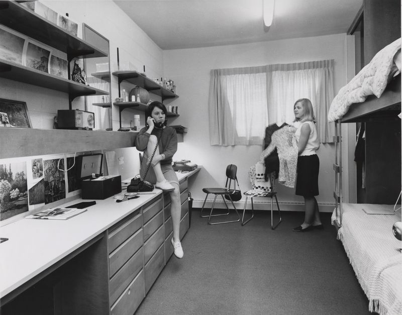 Go to Copeland House. Students in dorm room item page