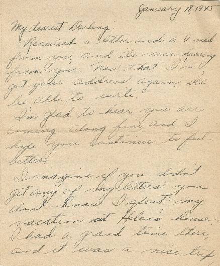 Go to Letter from Agnes Van Der Weide to Joe Olexa, January 18, 1945 item page