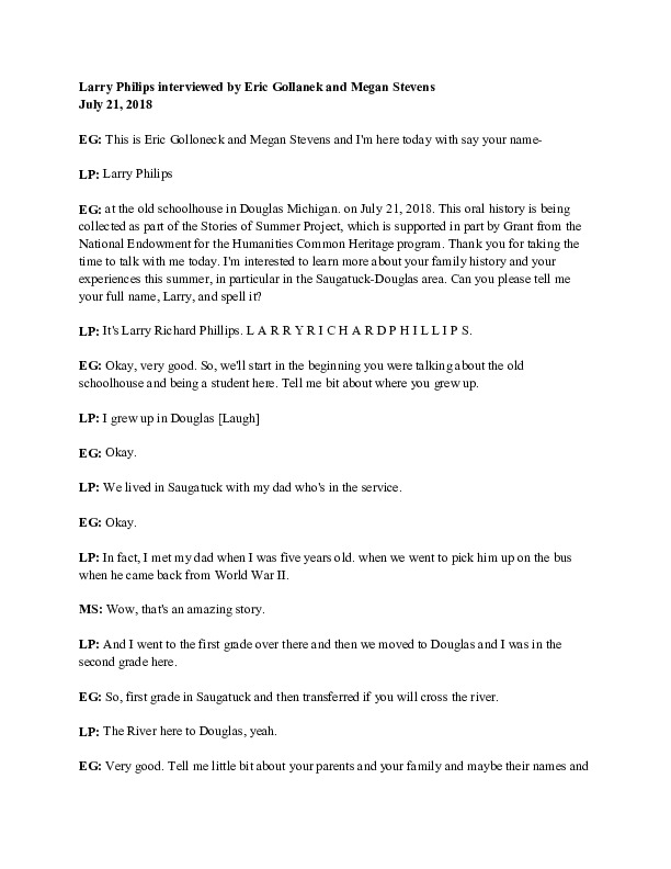 Go to Larry Philips (interview transcript) 2018 item page