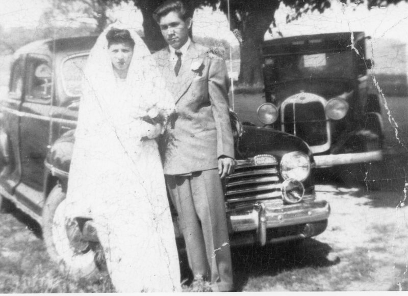 Fidencio and Lupe Vasquez on their wedding day, 1947