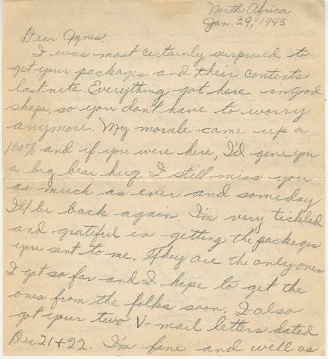 Go to Letter from Joe Olexa to Agnes Van Der Weide, January 29, 1943 item page