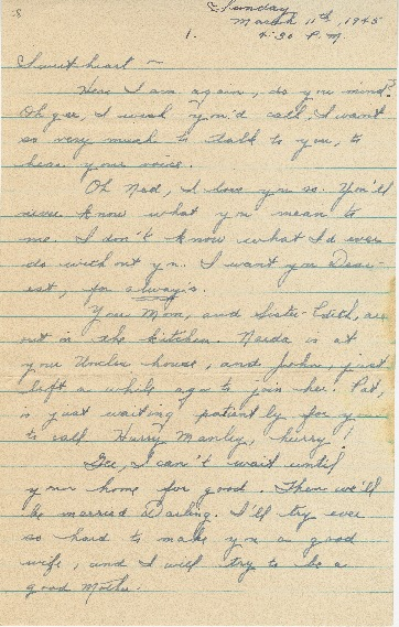 "Go to Letter to Edward ""Ned"" Manley by Jean Worthington, March 11, 1945. item page"