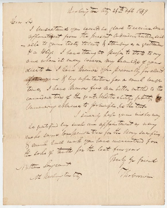 Go to Petition for U.S. Auditor position, April 24, 1849 item page