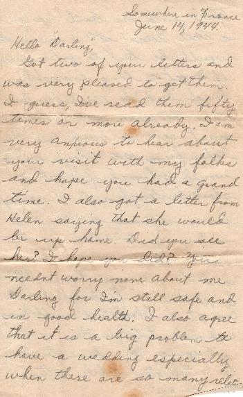 Go to Letter from Joe Olexa to Agnes Van Der Weide, June 14, 1944 item page