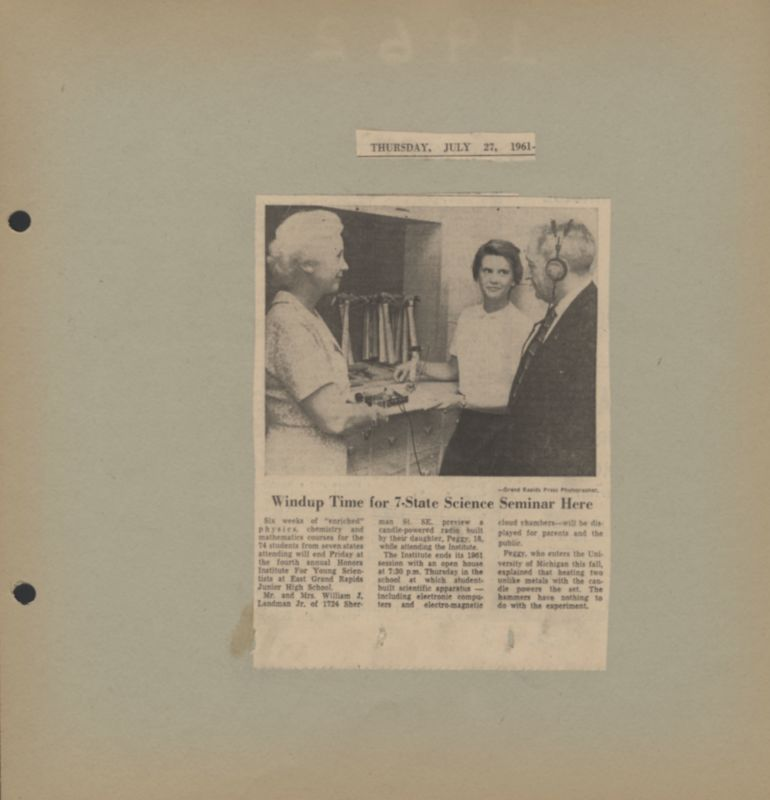 Go to 1961 Honors Institute for Young Scientists program wraps up item page