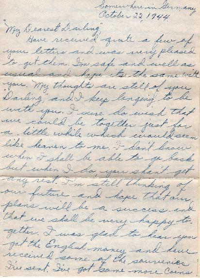 Go to Letter from Joe Olexa to Agnes Van Der Weide, October 22, 1944 item page
