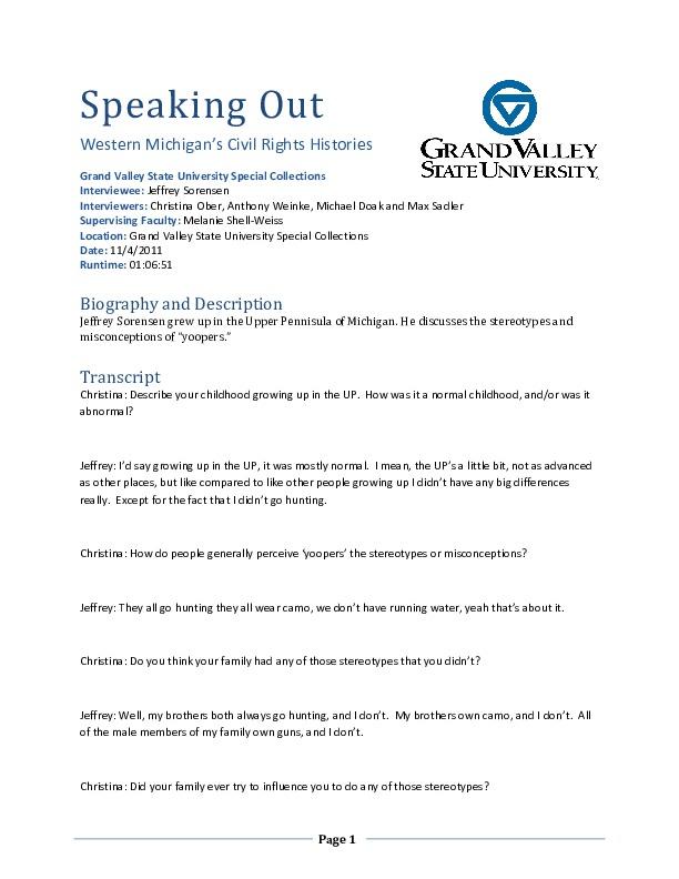Go to Jeffrey Sorensen audio interview and transcript item page