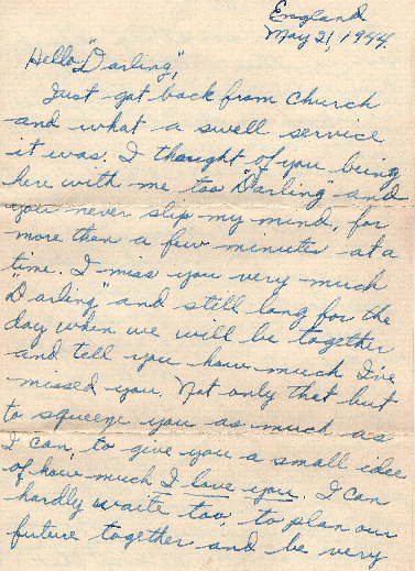 Go to Letter from Joe Olexa to Agnes Van Der Weide, May 21, 1944 item page