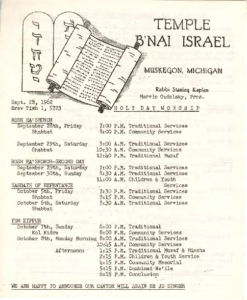 Go to Temple B'nai Israel Bulletin, September 28, 1962 item page