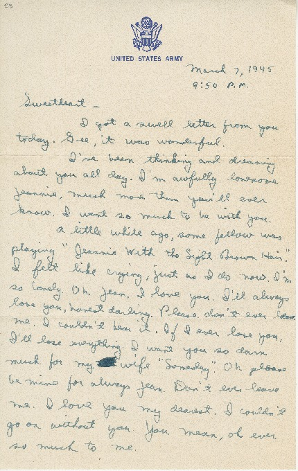"""Go to Letter to Jean Worthington by Edward """"Ned"""" Manley, March 07, 1945. item page"""