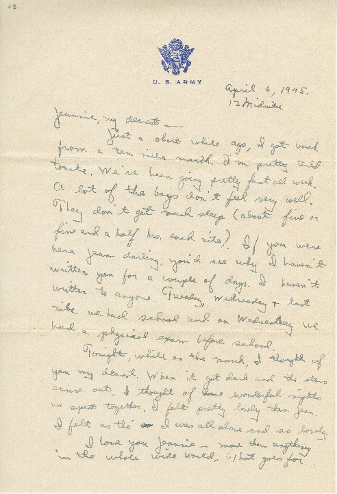 "Go to Letter to Jean Worthington by Edward ""Ned"" Manley, April 04, 1945. item page"