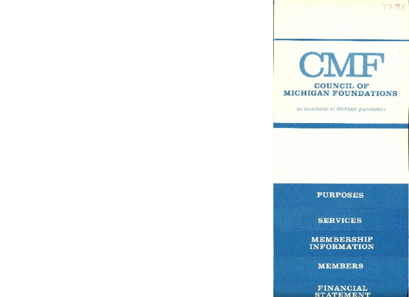 Go to Council of Michigan Foundations Annual Report 1977-1978 item page