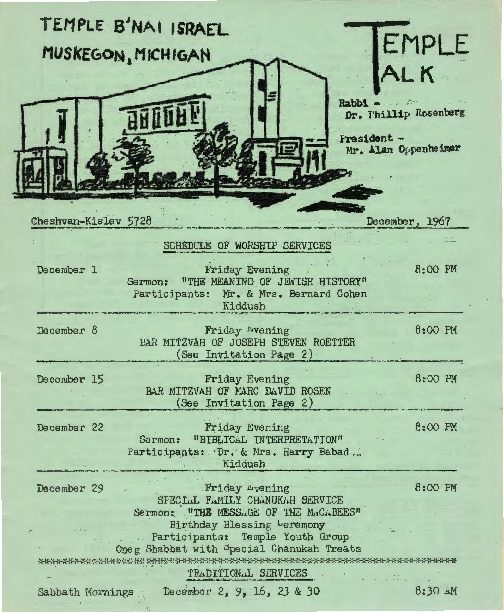 Go to Temple B'nai Israel Bulletin, December 1, 1967 item page