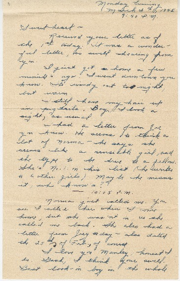 "Go to Letter to Edward ""Ned"" Manley by Jean Worthington, March 05, 1945. item page"