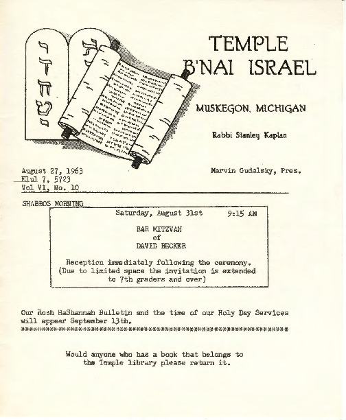 Go to Temple B'nai Israel Bulletin, August 27, 1963 item page