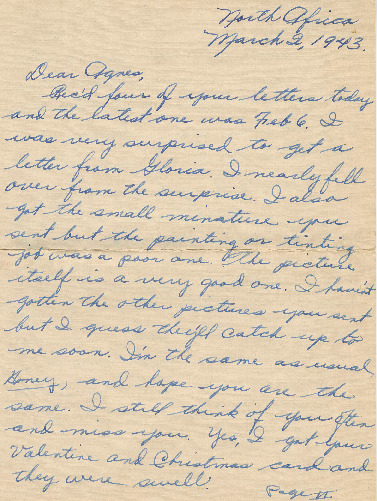 Go to Letter from Joe Olexa to Agnes Van Der Weide, March 2, 1943 item page