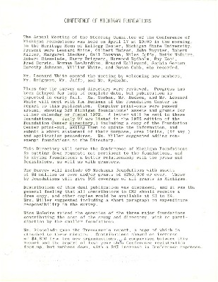 Council of Michigan Foundations 1975-09-16 board book annual meeting minutes