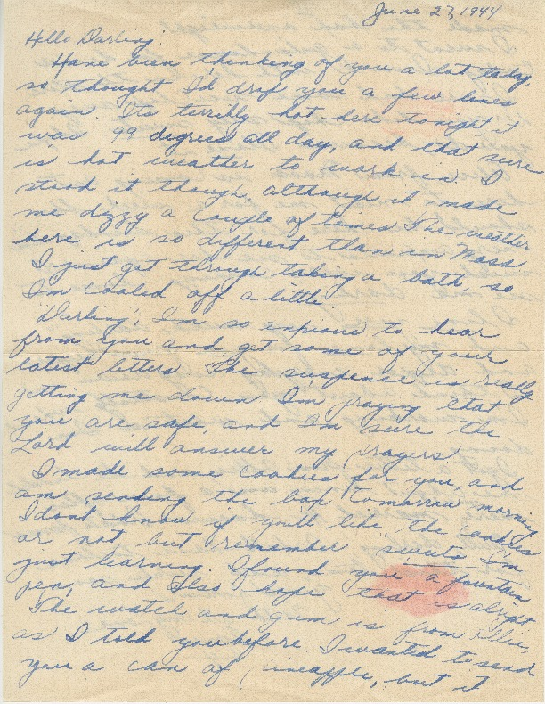 Go to Letter from Agnes Van Der Weide to Joe Olexa, June 27, 1944 item page