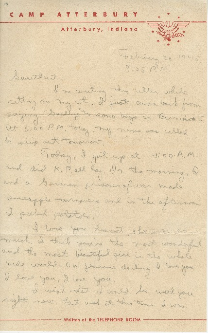 """Go to Letter to Jean Worthington by Edward """"Ned"""" Manley, February 20, 1945. item page"""