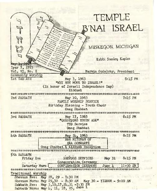 Go to Temple B'nai Israel Bulletin, May 1, 1963 item page