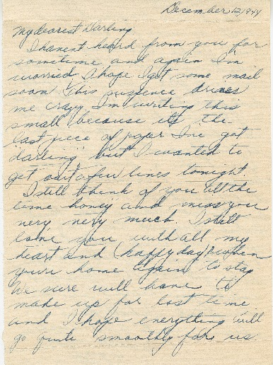 Go to Letter from Agnes Van Der Weide to Joe Olexa, December 12, 1944 item page