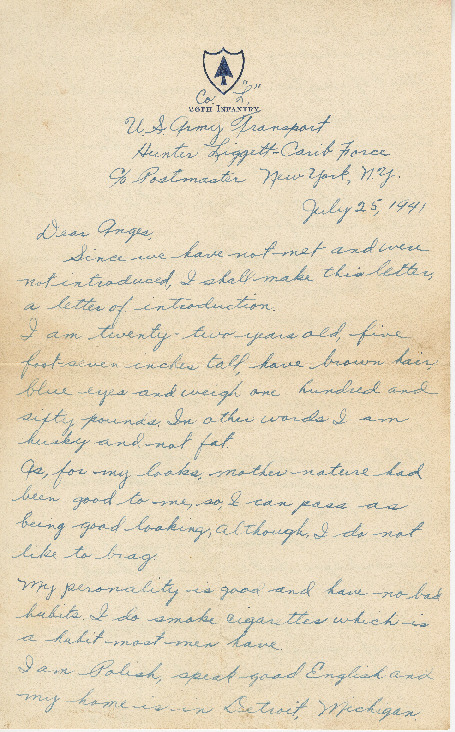 Go to Letter from Joe Olexa to Agnes Van Der Weide, July 25, 1941 item page
