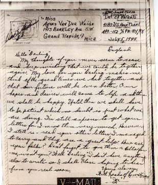 Go to Letter from Joe Olexa to Agnes Van Der Weide, July 5, 1944 item page
