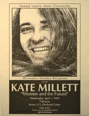 "Go to Women's Studies Program presents Kate Millet: ""Women and the Future"" item page"