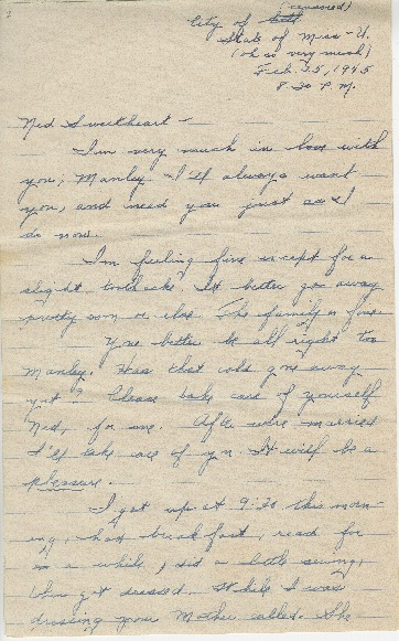 "Go to Letter to Edward ""Ned"" Manley by Jean Worthington, February 25, 1945. item page"