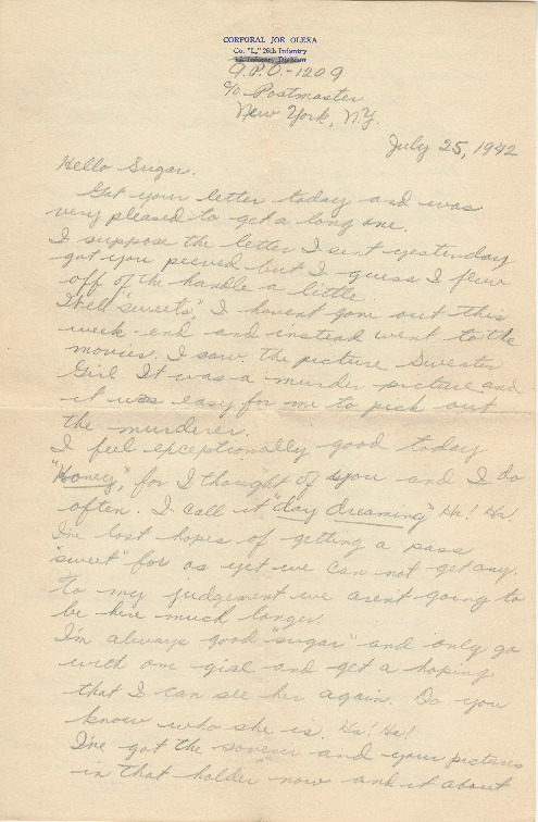 Go to Letter from Joe Olexa to Agnes Van Der Weide, July 25, 1942 item page