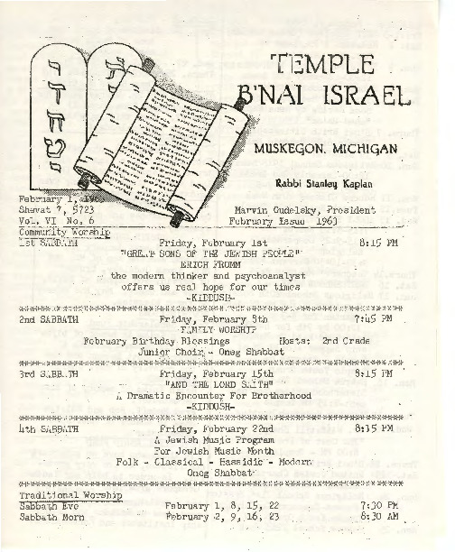 Go to Temple B'nai Israel Bulletin, February 1, 1963 item page