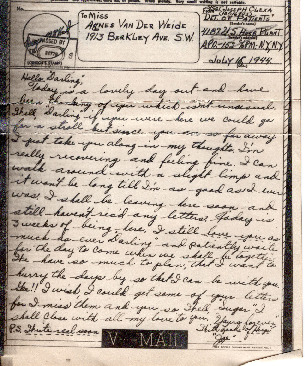 Go to Letter from Joe Olexa to Agnes Van Der Weide, July 15, 1944 item page