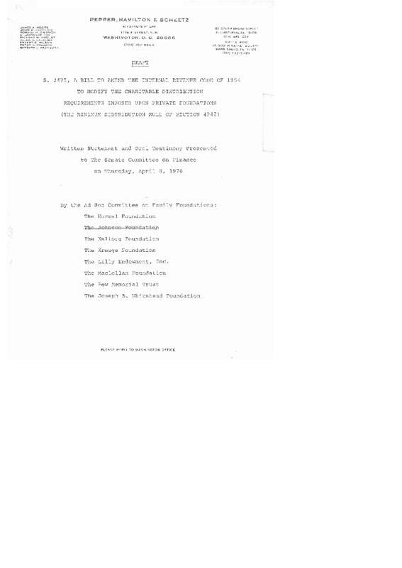 Go to Russell Mawby testimony on the bill to amend Internal Revenue Code of 1954 item page