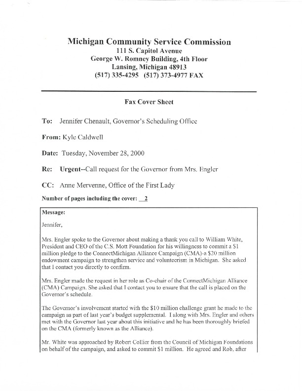 Go to ConnectMichigan Alliance 2000-11-28 MCSC call request for the Governor from Mrs. Engler item page